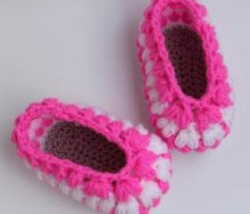 Easy pattern crochet baby puff slippers