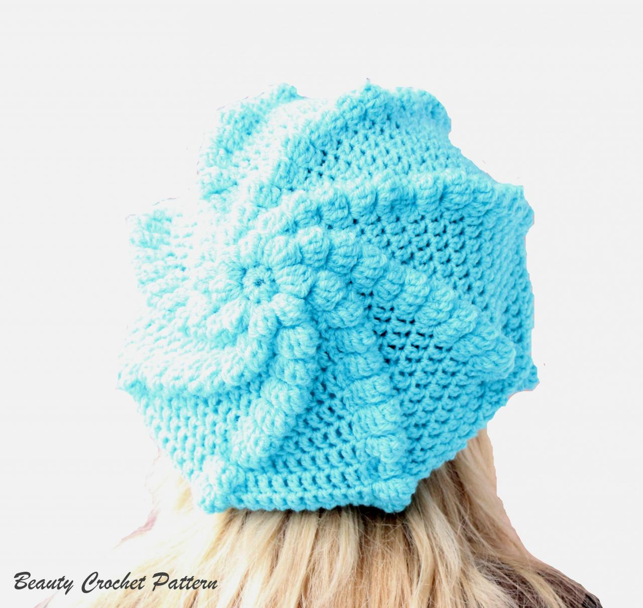 Hat Pattern, Crochet Oversized French Bubble Beret Pattern , Crochet ...