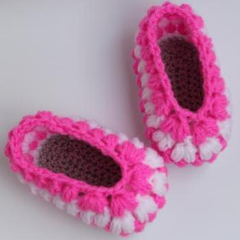 Crochet baby puff slippers easy pattern