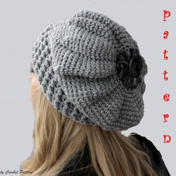 Oversized Beret Knitting Pattern : Crochet Slouchy Hat Pattern, Crochet Oversized French Beret Pattern,Crochet S...